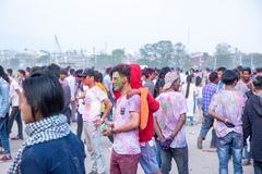 Holi festivalen av färgberöm i Tundikhel Katmandu Nepal royaltyfria foton