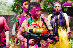 Holi-Festivalfeiern in Indien Stockfotografie