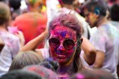 Holi-Festivalgesichter Stockfotos