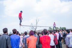 Holi festiwal koloru świętowanie w Tundikhel Kathmandu Nepal obrazy royalty free