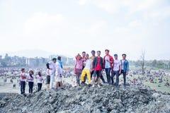 Holi festiwal koloru świętowanie w Tundikhel Kathmandu Nepal zdjęcie royalty free