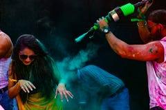 Holi festiwal kolory w Delhi Holi krowie na 2d Marzec 2018 Obraz Royalty Free