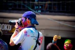 Holi festiwal w pokhara obraz royalty free