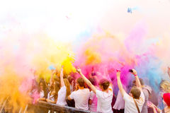 Holi Gaudy Festival, Stuttgart May 10th, 2014. Dancing people with color powder on the Holi Gaudy Festival in Stuttgart at May 10th, 2014 royalty free stock photo
