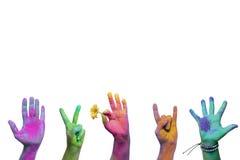 Holi geschilderde handen royalty-vrije stock afbeeldingen