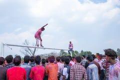 Holi het Festival van Kleurenviering in Tundikhel Katmandu Nepal royalty-vrije stock afbeeldingen