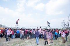 Holi het Festival van Kleurenviering in Tundikhel Katmandu Nepal stock afbeeldingen