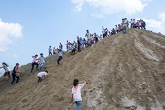 Holi het Festival van Kleurenviering in Tundikhel Katmandu Nepal royalty-vrije stock afbeelding