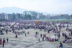 Holi het Festival van Kleurenviering in Tundikhel Katmandu Nepal royalty-vrije stock fotografie