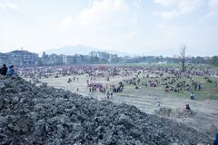 Holi het Festival van Kleurenviering in Tundikhel Katmandu Nepal royalty-vrije stock foto