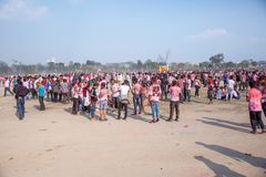 Holi het Festival van Kleurenviering in Tundikhel Katmandu Nepal stock fotografie