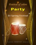 Holi indian spring festival of colors.Abstract background party. Invitation.Colored powder, glow of light, drums in the center.Space copy text.Yellow orange Stock Image