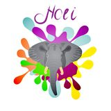 Holi indian spring festival of colors background vector illustra. Tion.The head of an elephant on the background blots colorful paint.Design element invitation Stock Images