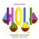Holi indian spring festival of colors.Pots, bowls with dry color stock illustration