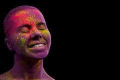 Holi malował dziewczyny Fotografia Royalty Free
