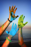 Holi paint  hands Royalty Free Stock Photography