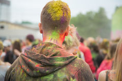 At the Holi paint party. Royalty Free Stock Image