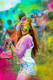Holi painted girl royalty free stock photo
