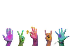 Holi painted hands. Colorful holi painted hands in different positions royalty free stock images