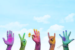 Holi painted hands. Colorful holi painted hands in different positions Stock Image