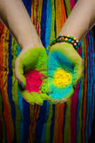 Holi painted hands Stock Image