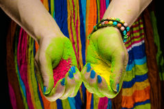 Holi painted hands Royalty Free Stock Photo