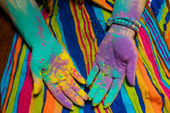 Holi painted hands Stock Photography