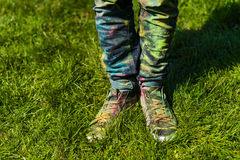 Holi painted legs. Legs stained with paint on Holi festival Stock Photo