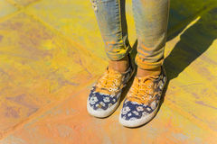 Holi painted legs. Legs stained with paint on Holi festival Royalty Free Stock Images