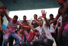 Holi party in Barcelona stock photography