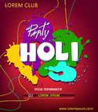 Holi party poster.Indian Festival of colours, happy Holi celebration design. royalty free illustration