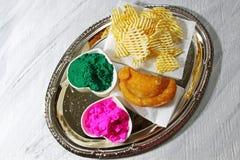 Holi platter Stock Images