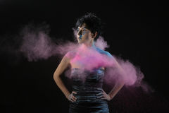Holi Powder on a Beautiful Woman Royalty Free Stock Photography