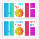 Holi Sale banner with stamped paper on rainbow rounds background Stock Photos
