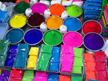 Holi Sale. Different colors in bowls and packets for sale on the occassion of Holi Festival in India Stock Photography