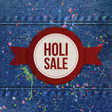 Holi Sale round Banner with red Ribbon Stock Photography