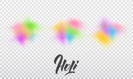 Holi Set kolorowi wybuchy gulal proszek Holi festiwal kolory, wiosna i miłość, ilustracja wektor
