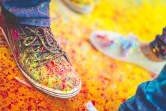 Holi Shoes Stock Photography