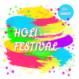 Holi spring festival of colors. Happy Holi spring festival of colors. Vector background with colorful Holi powder paint and sample text. Blue, yellow, pink Royalty Free Stock Photos