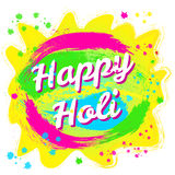 Holi spring festival of colors. Happy Holi spring festival of colors. Vector background with colorful Holi powder paint and sample text. Blue, yellow, pink Royalty Free Stock Image
