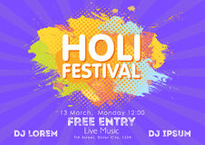 Holi spring festival of colors invitation template with colorful powder paint clouds and sample text. Blue, yellow, pink and orang. E powder paint. Vector Stock Photography