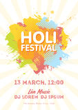 Holi spring festival of colors invitation template with colorful powder paint clouds and sample text. Blue, yellow, pink and orang. E powder paint. Vector Stock Photos