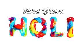 Holi variopinto del testo 3d Festa dei colori in India Immagine Stock Libera da Diritti