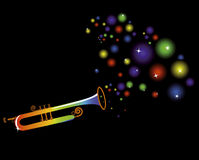 Holiday. Musical instrument plays a merry festive music on a black background Royalty Free Stock Images