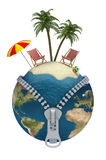 Holiday. 3D illustration with zippered globe, beach chairs on the island Stock Photography