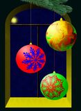 Holiday. Raster image, Christmas spheres against a window Royalty Free Stock Photos