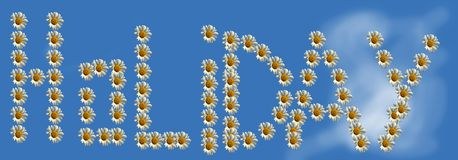 Holiday. Concept displaying the name  made with daisies Stock Photography