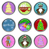 Holiday 3D Button Set. Cute glossy buttons for the holiday season Stock Illustration