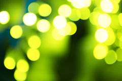Holiday abstract green and yellow lights Royalty Free Stock Image