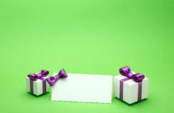 Holiday accessories on a green background Stock Photo